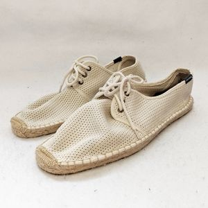 Soludos Natural Cream Mesh Lace Up Derby Shoes